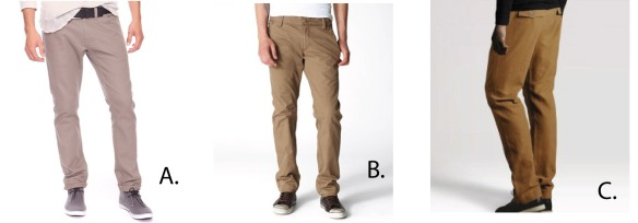 Forever 21 $32.90 - Levis 511 Skinny Trousers  $58.00 -  H&M Chinos $34.95
