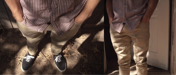 Levi 520 Khakis Modeled with a black and white gingham button up and a pair of Vans Shoes