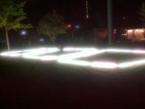Side view of GOD lighting installation