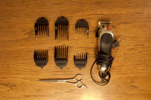 Hair Clipper set organized and laid out