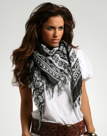 White Tee with Scarf