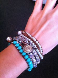 Wrap bracelets displayed on hand