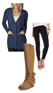 navy Target cardigen, tan leather Charolette Russe boot, black Forever 21 legging