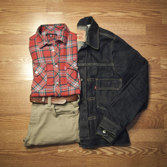 Flannel, Khakis, and Denim Jacket