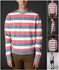 Generic Frame Striped Crewneck Sweatshirt on sale for 30.00 at UrbanOutfitters.com